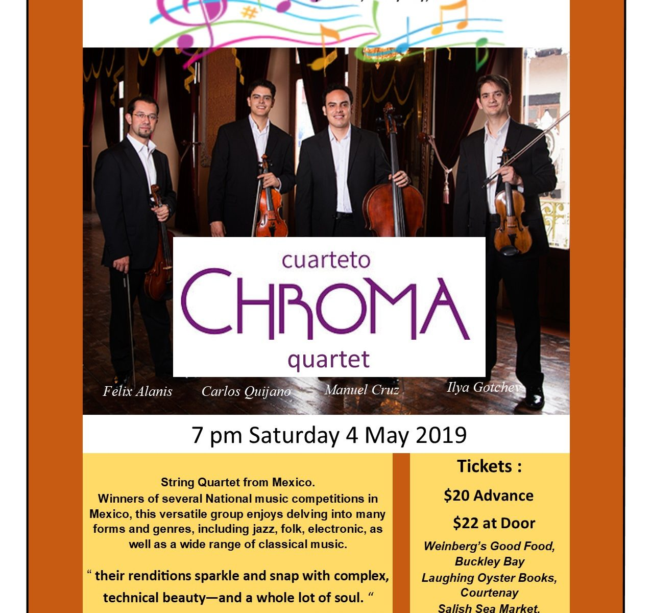2019 Chroma Quartet poster