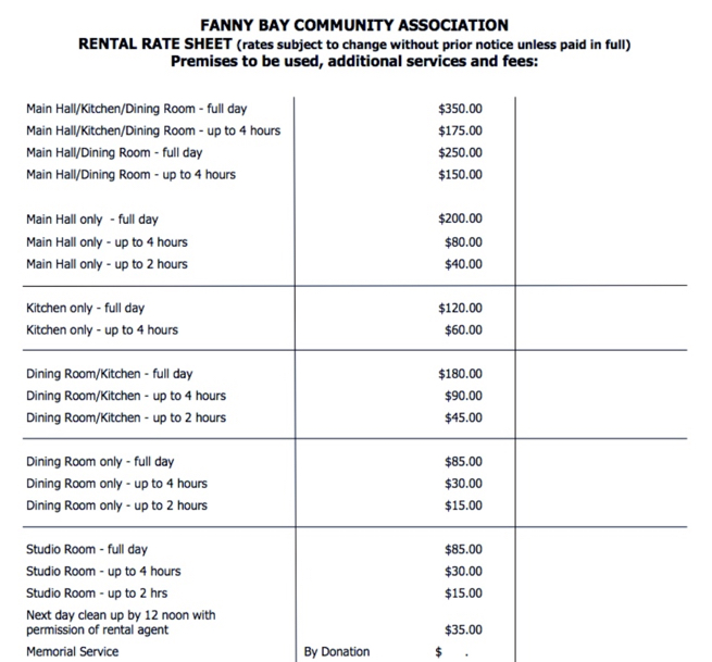 Hall Rental Rates