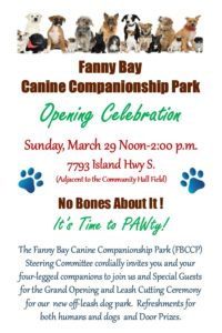 Fanny Bay Canine Companionship Park Grand Opening *** POSTPONED ***