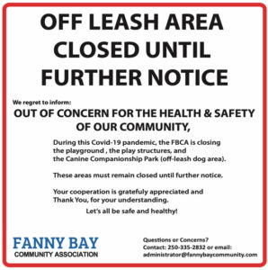 OFF LEASH AREA CLOSURE